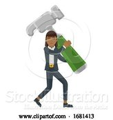 Vector Illustration of Asian Businesswoman Holding Hammer Mascot Concept by AtStockIllustration