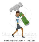 Vector Illustration of Asian Doctor Lady Holding Hammer Mascot by AtStockIllustration