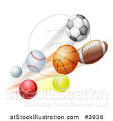 Vector Illustration of Athletic Sports Balls Flying by AtStockIllustration