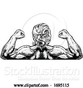 Vector Illustration of Back Muscles Bodybuilder Strong Arms Concept by AtStockIllustration