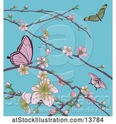 Vector Illustration of Background of Butterflies and Branches with Spring Blossoms over Blue Sky by AtStockIllustration