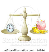 Vector Illustration of Balanced Scales with Time and a Piggy Bank by AtStockIllustration
