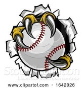 Vector Illustration of Baseball Ball Eagle Claw Talons Ripping Background by AtStockIllustration