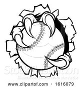 Vector Illustration of Baseball Ball Eagle Claw Talons Tearing Background by AtStockIllustration