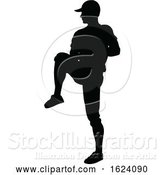 Vector Illustration of Baseball Player Silhouette by AtStockIllustration