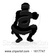 Vector Illustration of Baseball Player Silhouette, on a White Background by AtStockIllustration