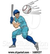 Vector Illustration of Baseball Player Swinging Bat at Ball for Home Run by AtStockIllustration