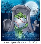 Vector Illustration of Baseball Zombie Halloween Graveyard Concept by AtStockIllustration