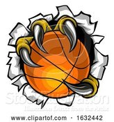 Vector Illustration of Basketball Ball Eagle Claw Tearing Background by AtStockIllustration