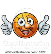 Vector Illustration of Basketball Character Holding Two Thumbs up by AtStockIllustration