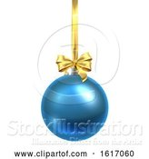 Vector Illustration of Bauble Christmas Ball Glass Ornament Blue by AtStockIllustration