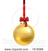 Vector Illustration of Bauble Christmas Ball Glass Ornament Gold by AtStockIllustration