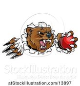 Vector Illustration of Bear Mascot Slashing Through a Wall with a Cricket Ball in a Paw by AtStockIllustration