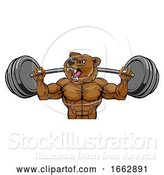 Vector Illustration of Bear Mascot Weight Lifting Barbell Body Builder by AtStockIllustration