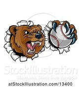Vector Illustration of Bear Sports Mascot Breaking Through a Wall with a Baseball in a Paw by AtStockIllustration