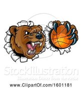 Vector Illustration of Bear Sports Mascot Breaking Through a Wall with a Basketball in a Paw by AtStockIllustration