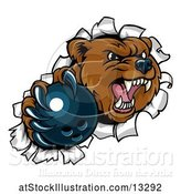 Vector Illustration of Bear Sports Mascot Breaking Through a Wall with a Bowling Ball in a Paw by AtStockIllustration