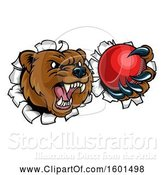 Vector Illustration of Bear Sports Mascot Breaking Through a Wall with a Cricket Ball in a Paw by AtStockIllustration