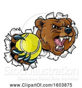 Vector Illustration of Bear Sports Mascot Breaking Through a Wall with a Tennis Ball in a Paw by AtStockIllustration