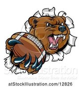 Vector Illustration of Bear Sports Mascot Breaking Through a Wall with an American Football in a Paw by AtStockIllustration