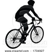 Vector Illustration of Bike and Bicyclist Silhouette by AtStockIllustration