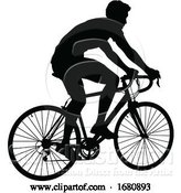 Vector Illustration of Bike Cyclist Riding Bicycle Silhouette by AtStockIllustration