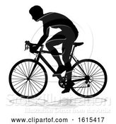 Vector Illustration of Bike Cyclist Riding Bicycle Silhouette, on a White Background by AtStockIllustration