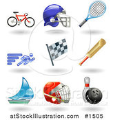 Vector Illustration of Bike, Helmet, Tennis Racket, Runner, Racing Flag, Cricket Bat, Sailboat, Hockey Helmet and Bowling Ball with Pin by AtStockIllustration
