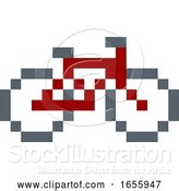 Vector Illustration of Bike or Bicycle Pixel 8 Bit Video Game Art Icon by AtStockIllustration