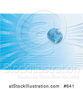 Vector Illustration of Binary Code Surrounding Blue Earth by AtStockIllustration