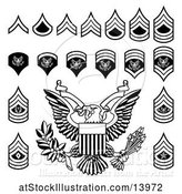 Vector Illustration of Black and White American Military Army Officer Rank Insignia Badges by AtStockIllustration