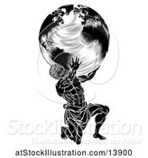 Vector Illustration of Black and White Atlas Titan Guy Carrying a Globe by AtStockIllustration