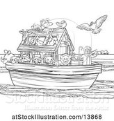 Vector Illustration of Black and White Biblical Scene of Noah on His Ark with the White Dove Returning with the Olive Branch by AtStockIllustration