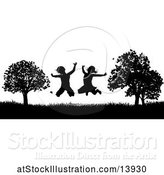 Vector Illustration of Black and White Border of Silhouetted KChildren Jumping Outdoors by AtStockIllustration