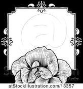 Vector Illustration of Black and White Border or Wedding Invitation with a Rose by AtStockIllustration