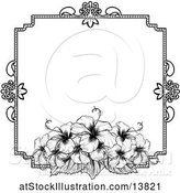 Vector Illustration of Black and White Border or Wedding Invitation with Hibiscus Flowers by AtStockIllustration