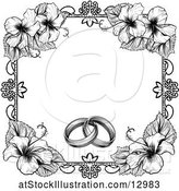 Vector Illustration of Black and White Border or Wedding Invitation with Rings and Hibiscus Flowers by AtStockIllustration