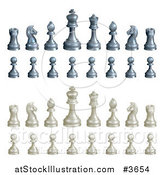 Vector Illustration of Black and White Chess Pieces by AtStockIllustration