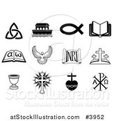 Vector Illustration of Black and White Christian Icons by AtStockIllustration
