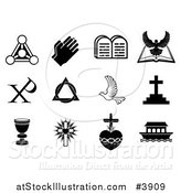 Vector Illustration of Black and White Christian Symbols by AtStockIllustration