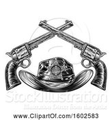 Vector Illustration of Black and White Cowboy Sheriff Hat with Crossed Guns by AtStockIllustration