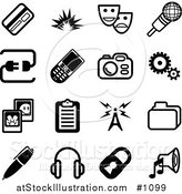 Vector Illustration of Black and White Credit Card, Masks, Microphone, Connection, Cellphone, Camera, Cogs, Pictures, Clipboard, Communications Tower, Files, Pen, Headphones, Padlock and Speaker Icons on a White Background by AtStockIllustration
