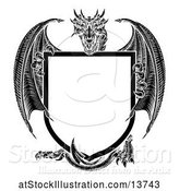 Vector Illustration of Black and White Dragon Holding a Shield by AtStockIllustration