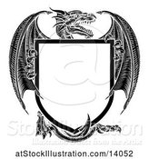 Vector Illustration of Black and White Dragon Shield by AtStockIllustration