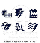 Vector Illustration of Black and White Energy and Electricity Icons by AtStockIllustration