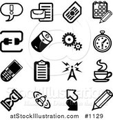 Vector Illustration of Black and White Exclamation Point, Letter, Calendar, Connection, Battery, Gears, Stopwatch, Cellphone, Clipboard, Communications Tower, Java, Hourglass, Bell, Arrows and Pencil Icons on a White Background by AtStockIllustration