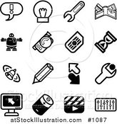 Vector Illustration of Black and White Exclamation Point, Lightbulb, Wrench, Wallet, Robot, Camera, Hourglass, Bell, Pencil, Arrows, Computer, Battery, Clapboard, and Equalizer Icons on a White Background by AtStockIllustration