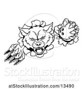 Vector Illustration of Black and White Ferocious Wolf Slashing Through a Wall with a Bowling Ball by AtStockIllustration