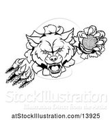 Vector Illustration of Black and White Ferocious Wolf Slashing Through a Wall with a Golf Ball by AtStockIllustration