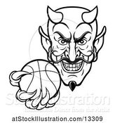 Vector Illustration of Black and White Grinning Evil Devil Holding out a Basketball in a Clawed Hand by AtStockIllustration
